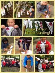 The children worked together to make beautiful bunting using the nature all around...